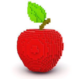 8-bit style red apple